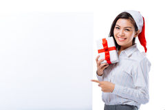 Happy manager with placard Stock Image
