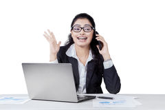 Happy manager talking on the phone Royalty Free Stock Photos