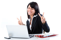 Happy manager woman. Manager woman happy at work Stock Photos