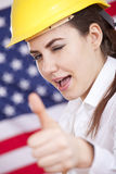 Happy manual worker with thumb up sign Royalty Free Stock Photography