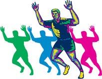 Happy Marathon Runner Running Retro Stock Image