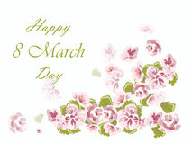 Happy 8 march card with spring flowers. Happy 8 march card with spring delicate pink flowers. Vector Royalty Free Stock Photos