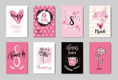Happy 8 March Cute Doodle Greeting Cards Set Pink Background Design Woman Day Concept. Vector Illustration stock illustration