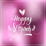 Happy 8 March Greeting Card Beautiful Blurred Background Women Holiday Decoration. Vector Illustration stock illustration