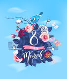 Happy 8 March. Hand lettering on blooming rose bush and little bird sitting on top against blue spring sky and clouds on. Background. Festive party invitation Royalty Free Illustration
