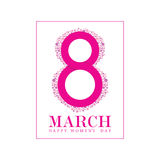 Happy 8 march icon in pink illustration Royalty Free Stock Image