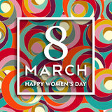 Happy 8 march international women`s day background. Happy international 8 march women`s day background. Typography quote frame on colorful swirl spring flowers vector illustration