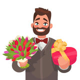 Happy March 8 International Women`s Day. Handsome man with a bou. Quet of flowers and a gift. Element for greeting card. Vector illustration in a flat style Stock Illustration