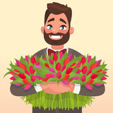 Happy March 8 International Women`s Day. Man with flowers. Element for greeting card on his birthday. Vector illustration Stock Images