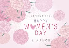 Happy 8 March International Womens day design of pink carnation. Flowers vector illustration Stock Photo