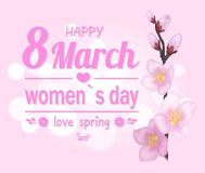 Happy 8 March Pink Banner Vector Illustration. Happy 8 March, womens day, and love spring, pink banner, with title, heart shape and flowers, sakura blossom Royalty Free Stock Image