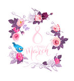 Happy 8 March. Pink hand lettering inside wreath of semi-colored flowers and blue bird sitting on rose on white royalty free illustration