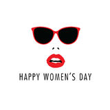 Happy 8 march with woman face icon color illustration Royalty Free Stock Photos