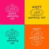Happy 8 march women`s day doodle set girl in nature Stock Image