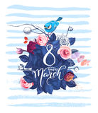 Happy 8 March. Women`s day greeting card. Beautiful hand lettering with bunch of spring flowers, leaves and blue bird. Sitting on it on background. Vector Royalty Free Illustration