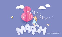 Happy 8 March womens day paper cut card