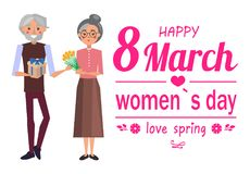 Happy 8 March Womens Day, Vector Illustration. Happy 8 March womens day love spring grandfather with gift for grandmother flowers and headline with heart shaped Royalty Free Stock Photos