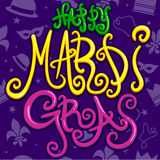 Happy Mardi Gras. An illustration of some brightly colored and bubbly text saying Happy Mardi Gras. Background pattern is also seamless