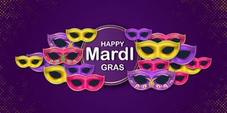 Happy Mardi Gras Carnival Party card with a Lettering and Masquerade Carnival Masks on a violet backdrop. Circus royalty free illustration