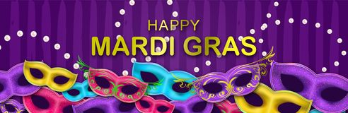Carnival Night Party banner with gold Lettering. Masquerade Masks on hand drawn background. Mardi Gras invitation card. Happy Mardi Gras Carnival Party royalty free illustration