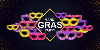 Happy Mardi Gras Carnival Party card with a Lettering and Masquerade Carnival Masks on a dark backdrop. Circus amusement vector illustration