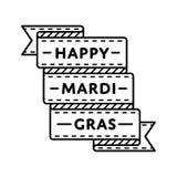Happy Mardi Gras greeting emblem. Happy Mardi Gras emblem isolated raster illustration on white background. 28 february world carnival holiday event label Royalty Free Stock Photos