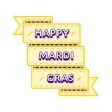 Happy Mardi Gras greeting emblem. Happy Mardi Gras emblem isolated raster illustration on white background. 28 february world carnival holiday event label Royalty Free Stock Photography