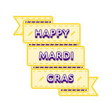Happy Mardi Gras greeting emblem. Happy Mardi Gras emblem isolated vector illustration on white background. 28 february world carnival holiday event label Royalty Free Stock Photography
