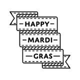 Happy Mardi Gras greeting emblem Stock Images