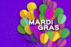 Happy Mardi Gras in paper cut style. Origami Carnival background with ballon. Colorful decoration for party, celebration. Banner, card, gift. Bunch baloon Stock Image