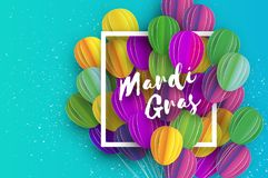 Happy Mardi Gras in paper cut style. Origami Carnival background with ballon. Square frame. Colorful decoration for. Party, celebration, banner, card, gift Royalty Free Stock Images