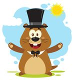 Happy Marmot Cartoon Mascot Character Wearing A Cylinder Hat And Welcoming Under Sunshine vector illustration