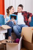 Happy marriage moving house. Happy young marriage starting life in new house royalty free stock photos
