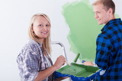 Happy marriage painting room Stock Image