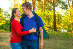 Happy married couple in camping Stock Photo