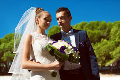 Happy married couple on nature royalty free stock photo