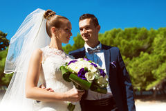 Happy married couple outdoors stock photography