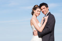 Happy Married Couple. Portrait Of Happy Married Young Couple Outdoor With Copyspace Stock Photography