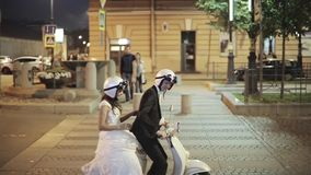 Happy Married Couple On The Scooter stock video