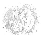 Happy married couple with a small child. Love, loyalty forever.. Floral pattern around a mother and father with a baby Royalty Free Stock Images
