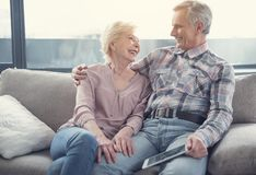 Loving old people spending time together Stock Images