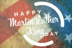 Composite image of happy martin luther king day. Happy Martin Luther King day against close-up of folded american flag stock illustration