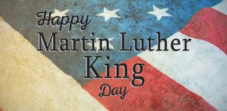 Composite image of happy martin luther king day. Happy Martin Luther King day against close-up of national flag vector illustration