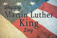 Composite image of happy martin luther king day. Happy Martin Luther King day against close-up of national flag stock illustration