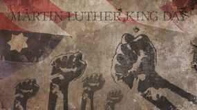 Happy Martin Luther King Day. America Flag Concrete. And Fists Stock Image