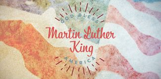 Composite image of happy martin luther king day, god bless america. Happy Martin Luther King day, god bless america against close-up of wrinkled american flag royalty free stock images
