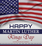 Happy martin luther king day greeting lettering, american flag