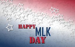 Happy Martin Luther King Day poster. White stars with red and blue colors of american flag background Stock Photo