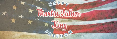 Composite image of happy martin luther king freedom. Happy Martin Luther King freedom against american flag on a brown table royalty free stock images