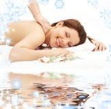 Happy massage on white sand Stock Image